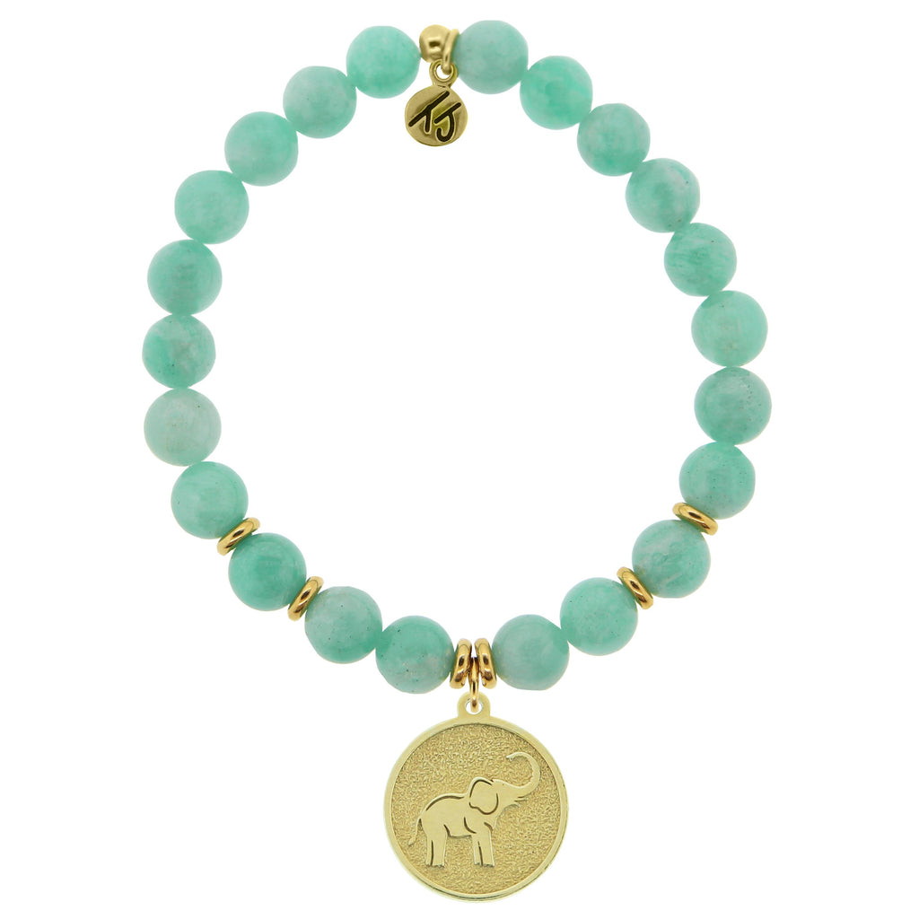 Gold Collection - Peruvian Amazonite Stone Bracelet with Lucky Elephant Gold Charm
