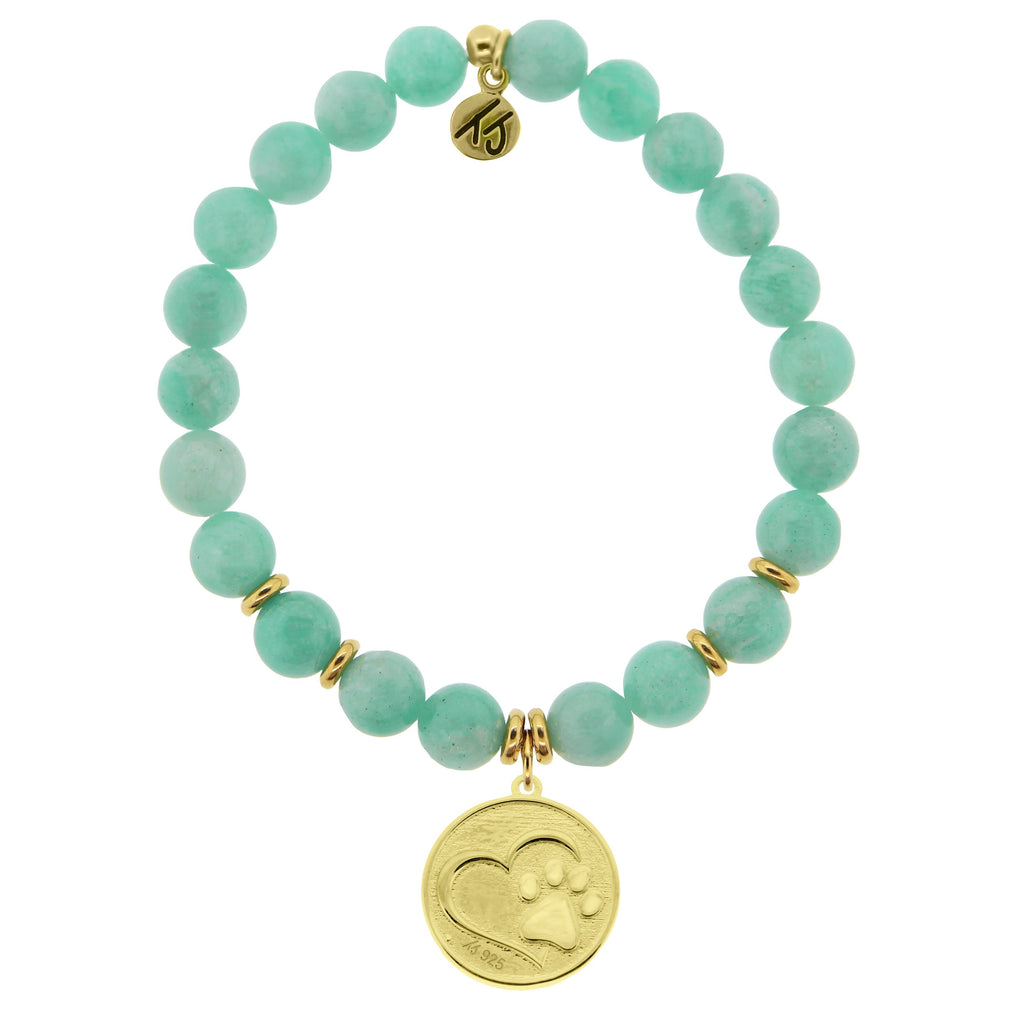 Gold Collection - Peruvian Amazonite Stone Bracelet with Paw Print Gold Charm