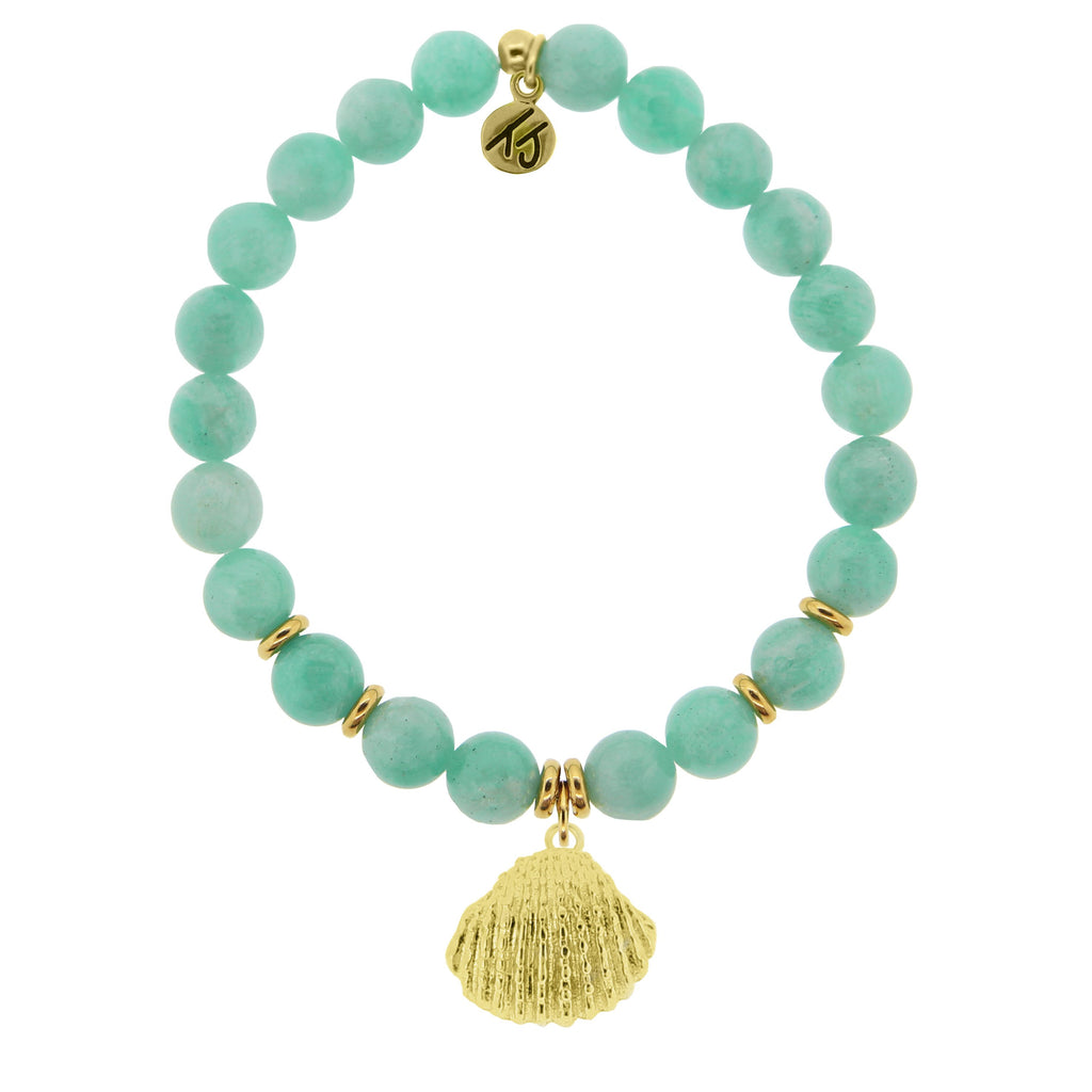 Gold Collection - Peruvian Amazonite Stone Bracelet with Seashell Gold Charm