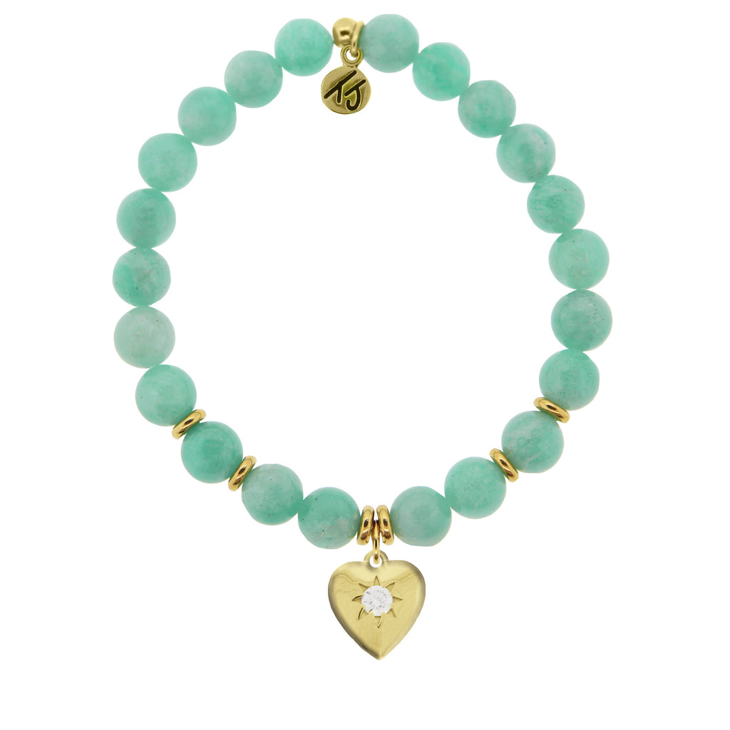 Gold Collection - Peruvian Amazonite Stone Bracelet with Self Love Gold Charm