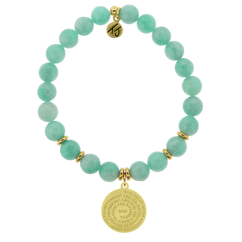 Gold Collection - Peruvian Amazonite Stone Bracelet with Serenity Prayer Gold Charm