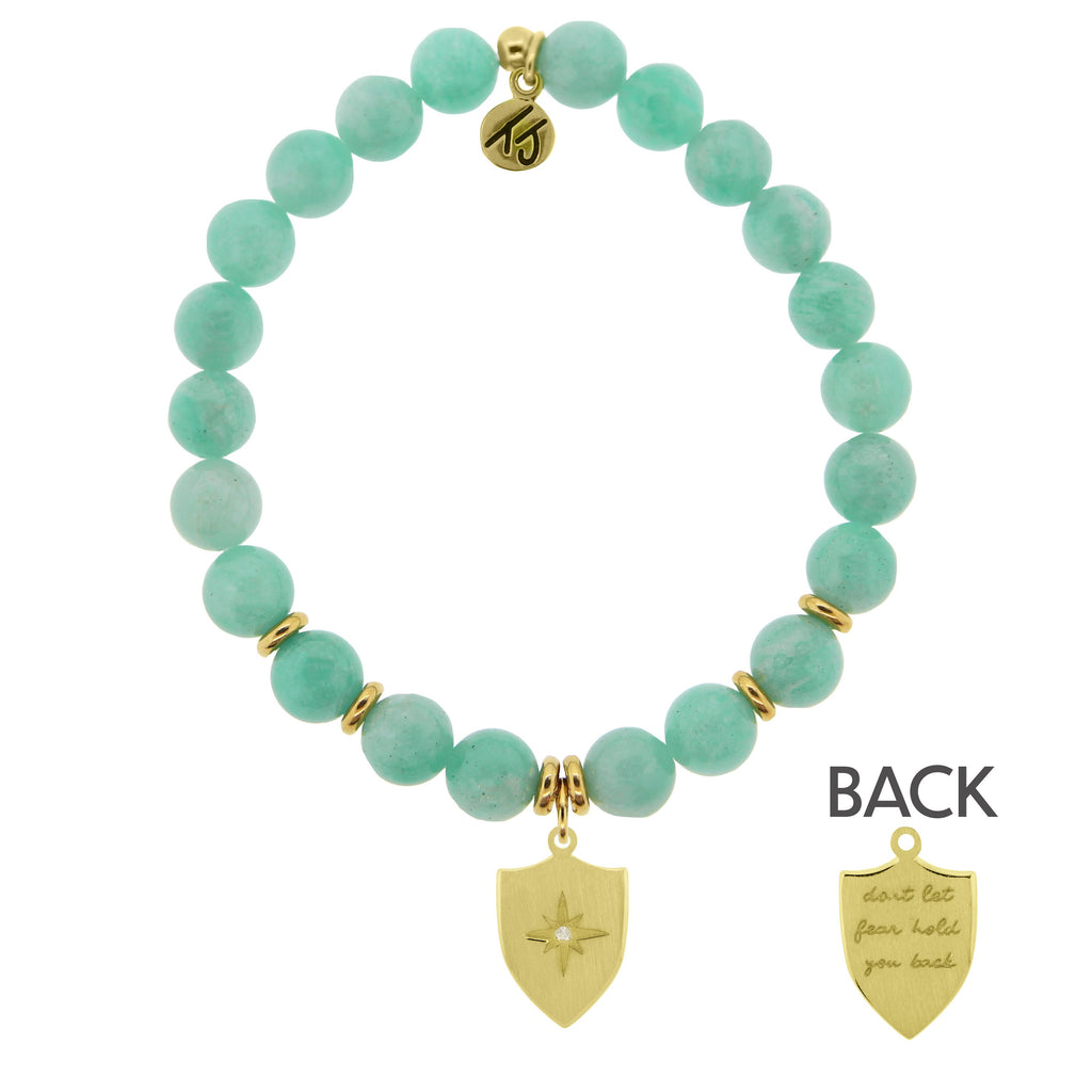 Gold Collection - Peruvian Amazonite Stone Bracelet with Shield of Strength Gold Charm