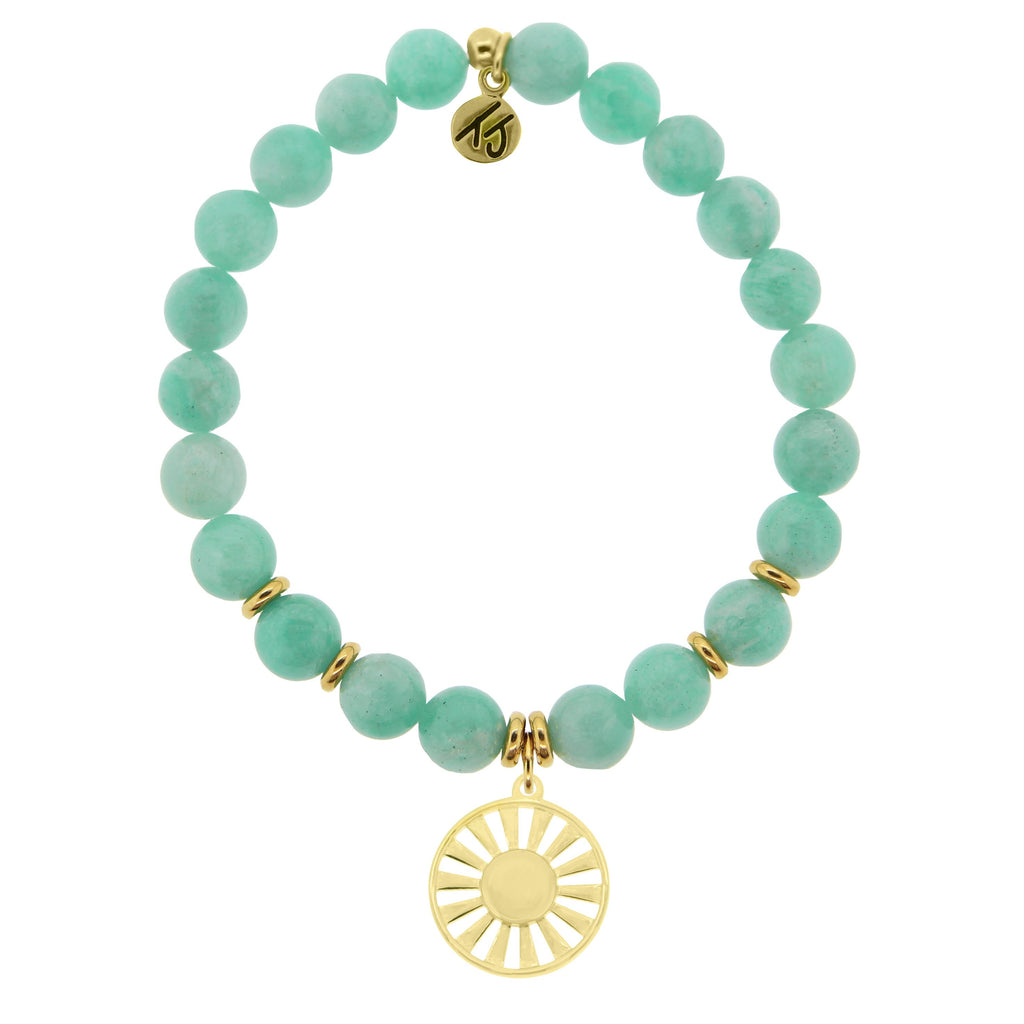 Gold Collection - Peruvian Amazonite Stone Bracelet with Sun Gold Charm
