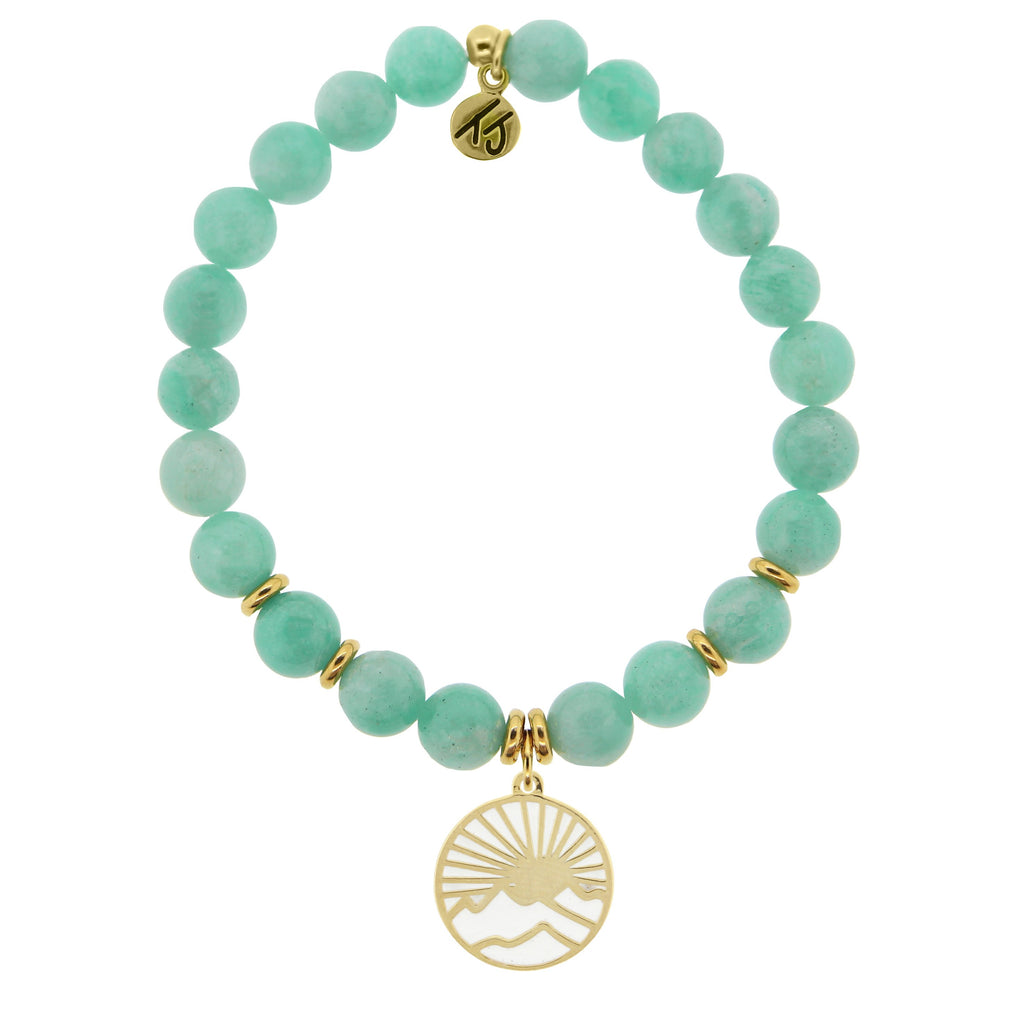 Gold Collection - Peruvian Amazonite Stone Bracelet with Sunrise Gold Charm
