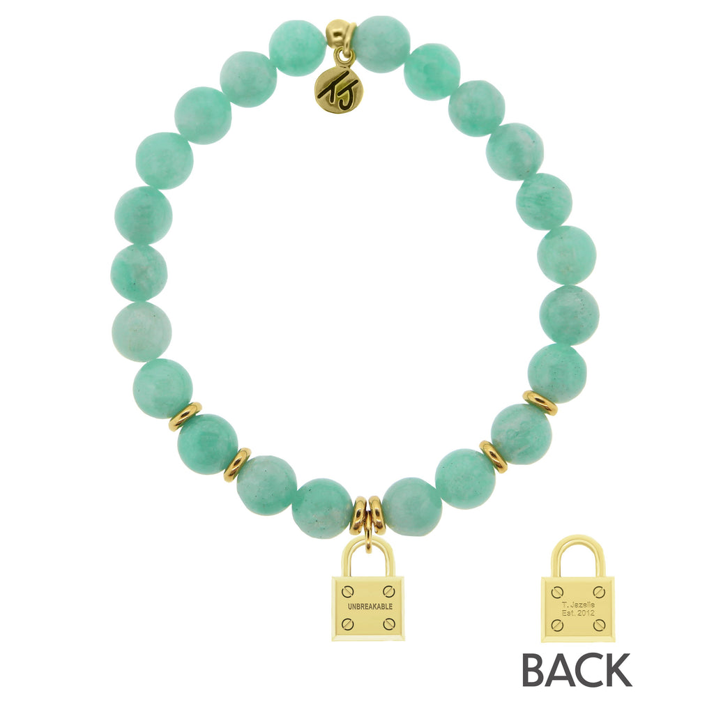 Gold Collection- Peruvian Amazonite Stone Bracelet with Unbreakable Gold Charm