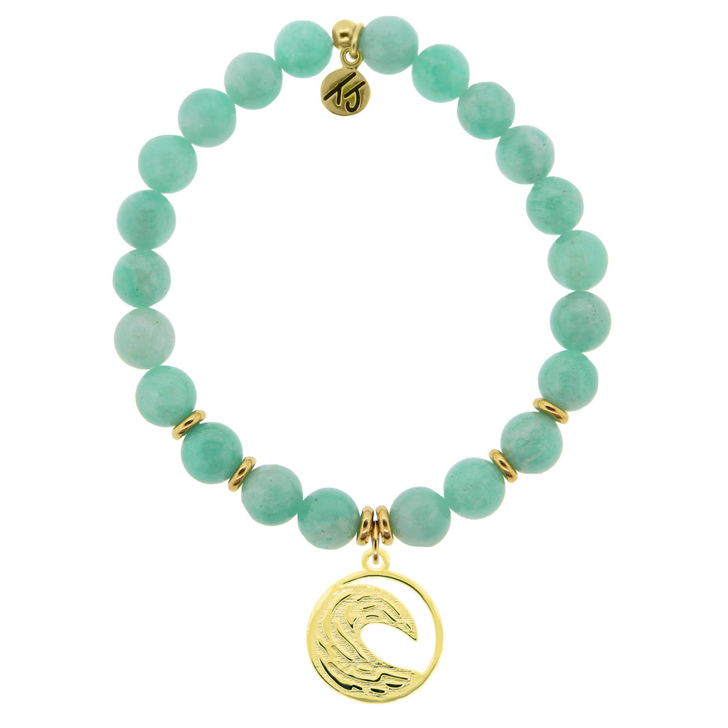 Gold Collection - Peruvian Amazonite Stone Bracelet with Wave Gold Charm