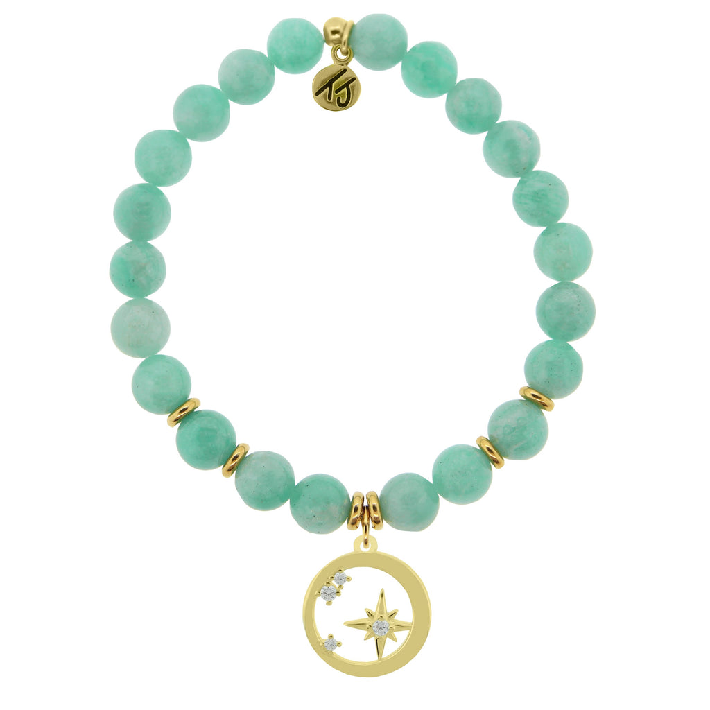 Gold Collection - Peruvian Amazonite Stone Bracelet with What is Meant to Be Gold Charm