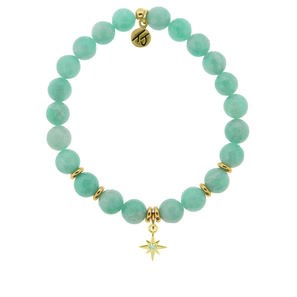 Gold Collection - Peruvian Amazonite Stone Bracelet with Your Year Gold Charm