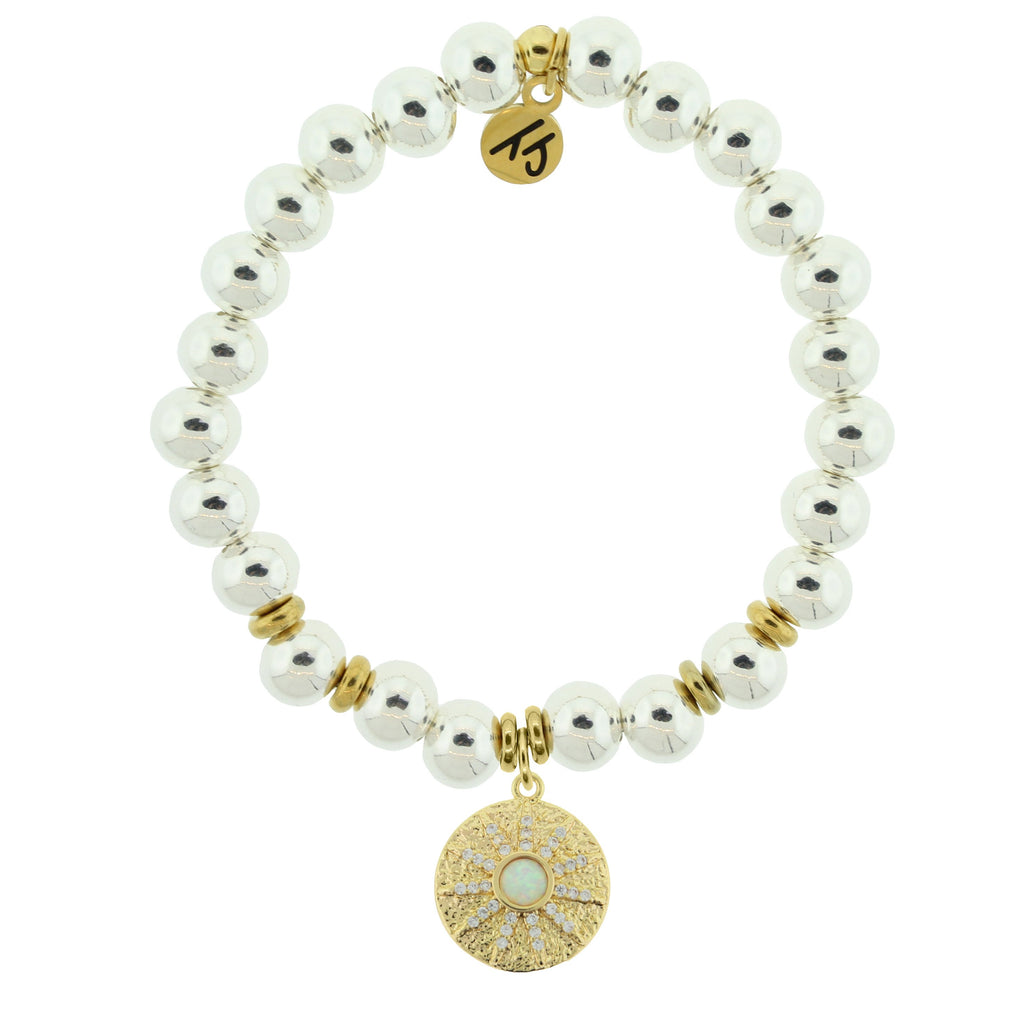 Gold Collection - Silver Steel Bracelet with Be the Light Gold Charm