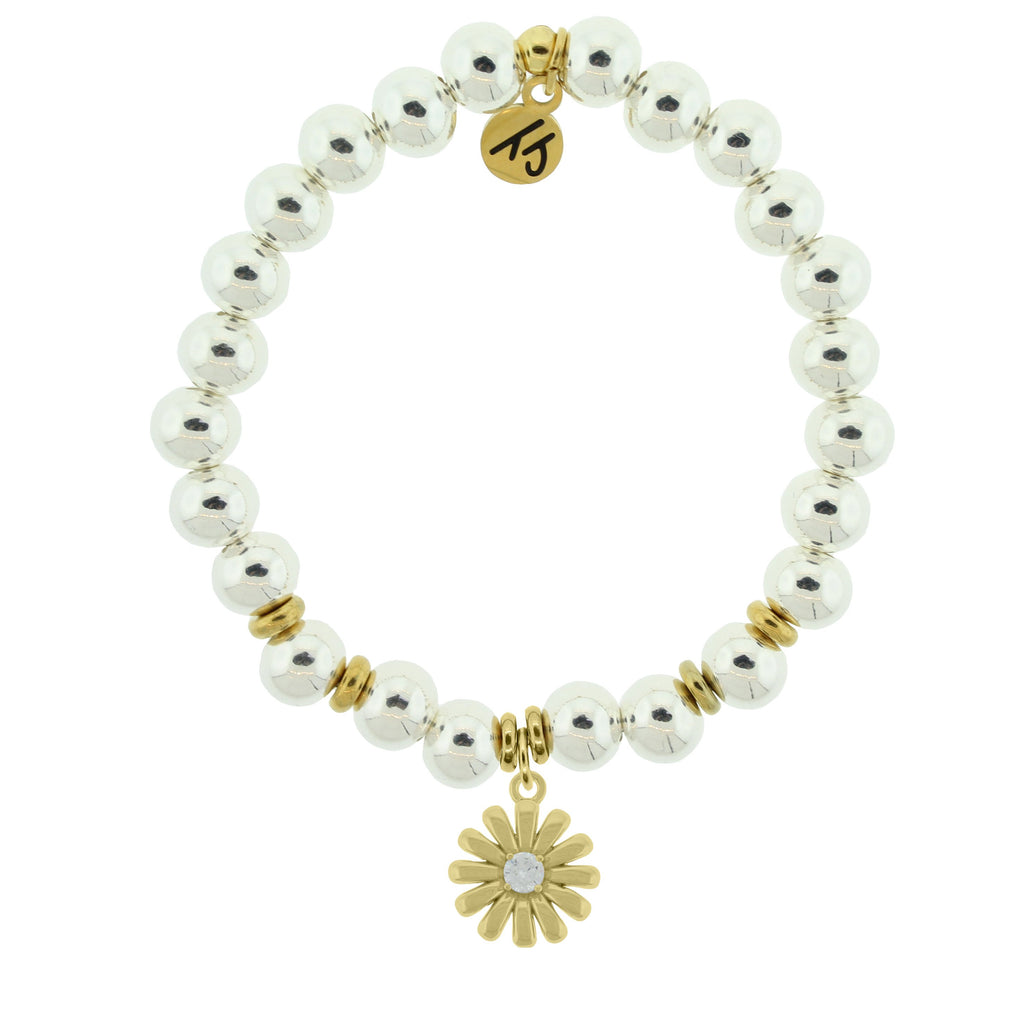 Gold Collection - Silver Steel Bracelet with Daisy Gold Charm