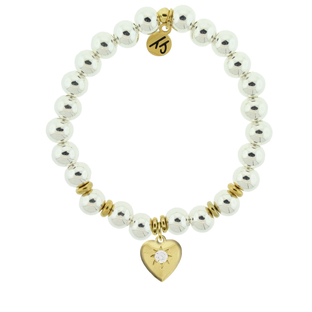 Gold Collection - Silver Steel Bracelet with Self Love Gold Charm
