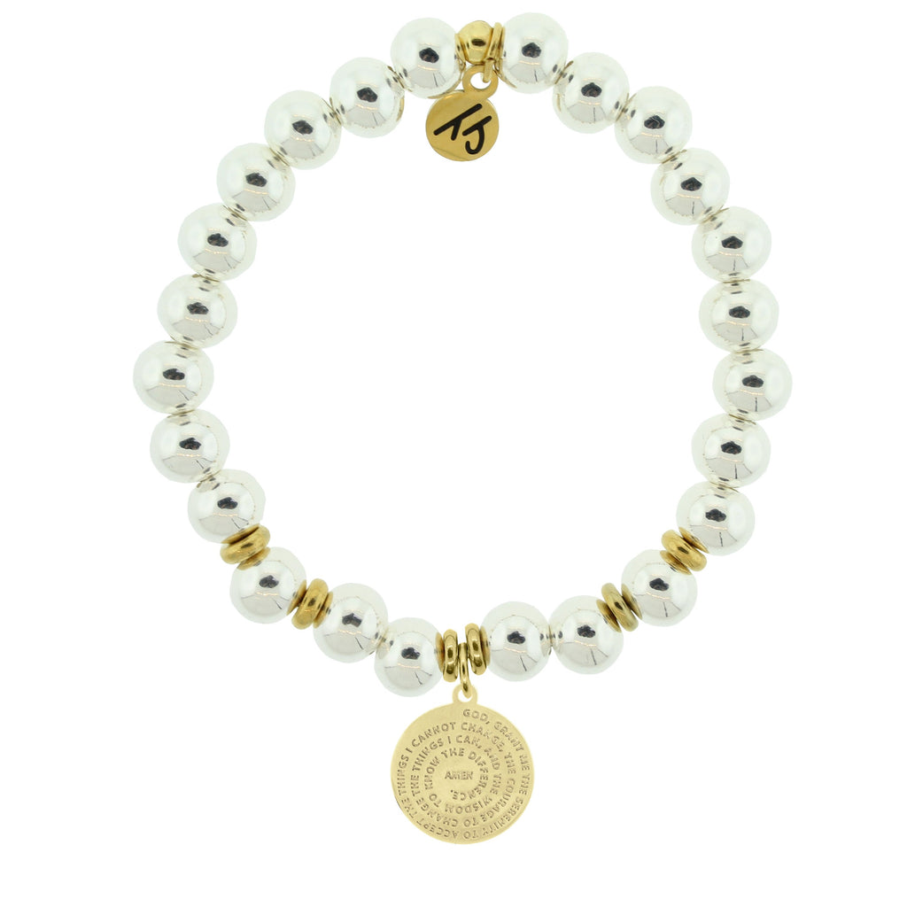 Gold Collection - Silver Steel Bracelet with Serenity Prayer Gold Charm