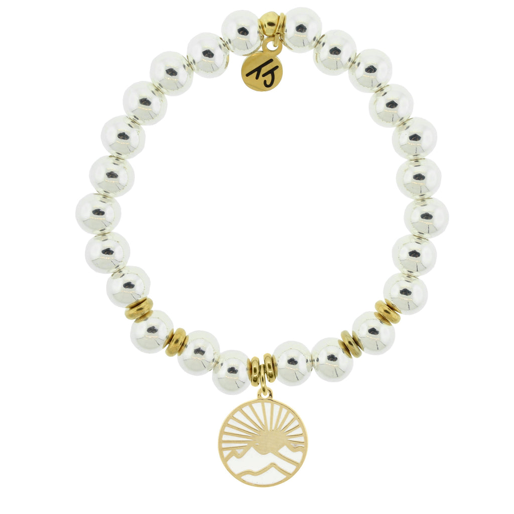 Gold Collection - Silver Steel Bracelet with Sunrise Gold Charm