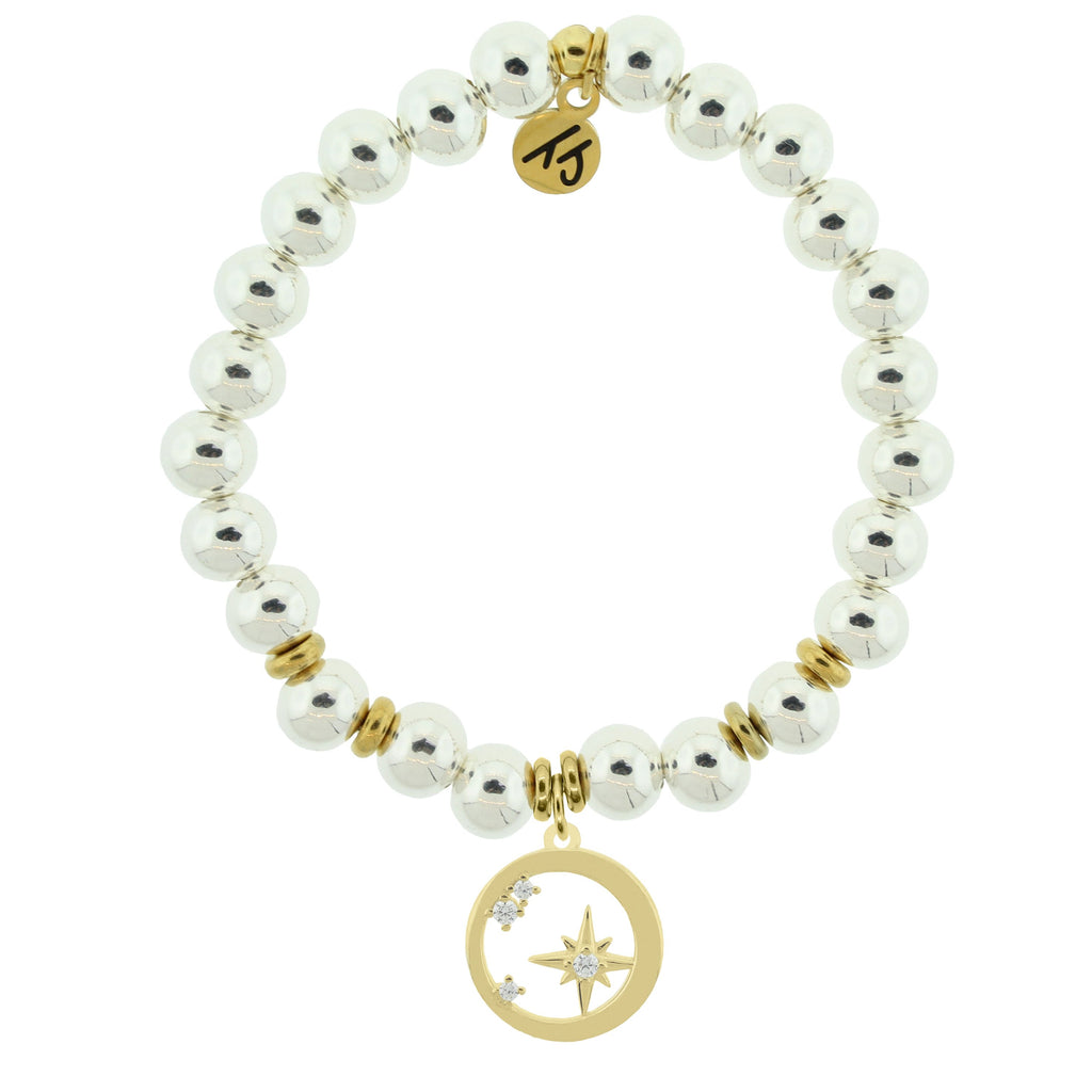 Gold Collection - Silver Steel Bracelet with What is Meant to Be Gold Charm