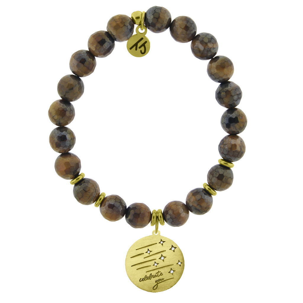 Gold Collection - Tiger's Eye Stone Bracelet with Birthday Wishes Gold Charm