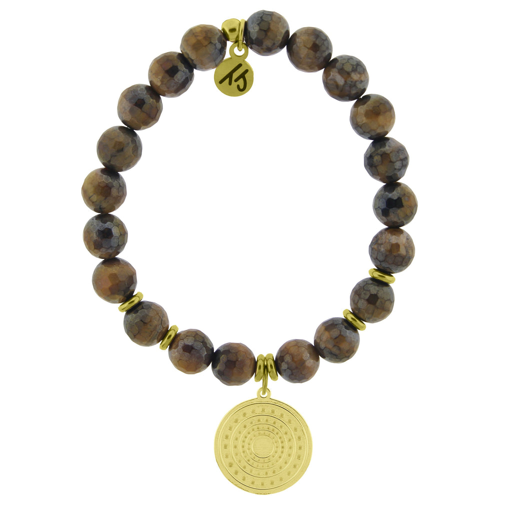 Gold Collection - Tiger's Eye Stone Bracelet with Family Circle Gold Charm