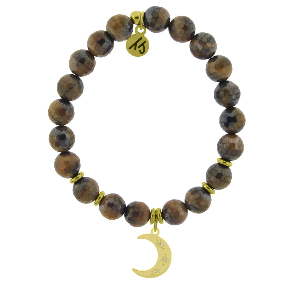 Gold Collection - Tiger's Eye Stone Bracelet with Friendship Stars Gold Charm