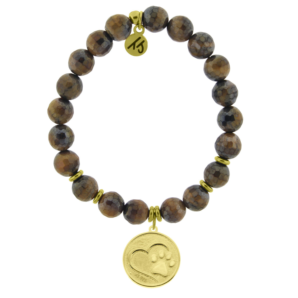 Gold Collection - Tiger's Eye Stone Bracelet with Paw Print Gold Charm