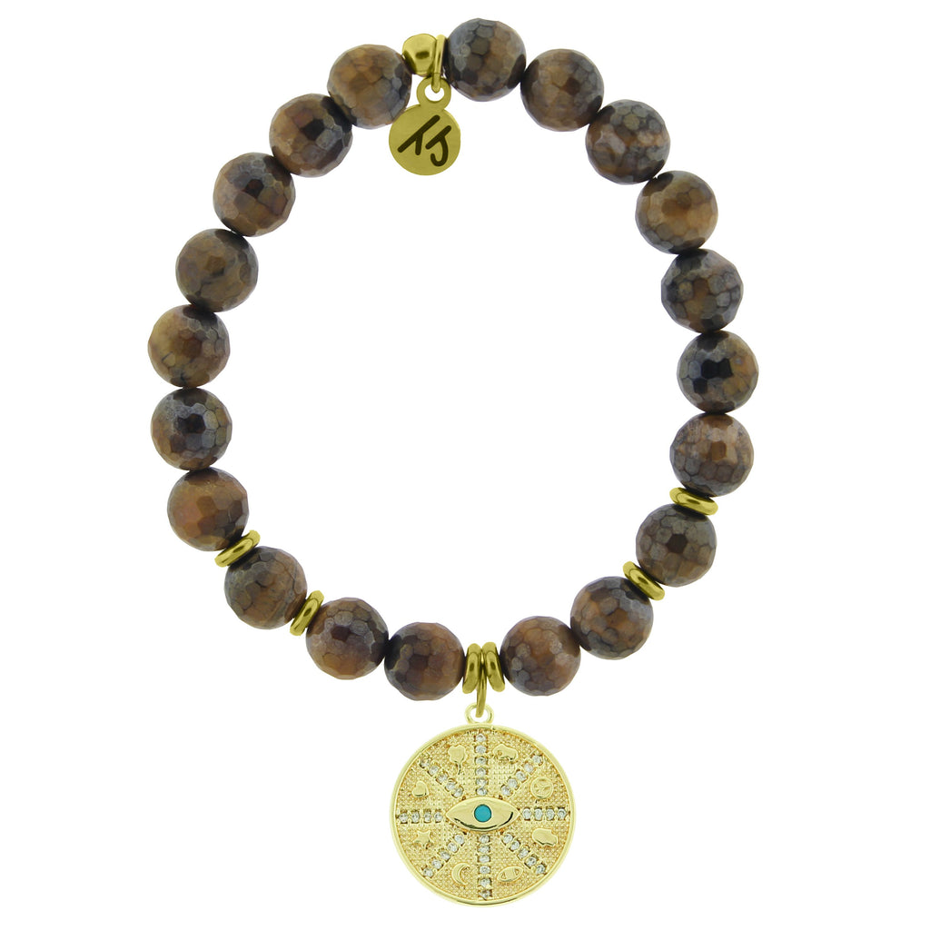 Gold Collection - Tiger's Eye Stone Bracelet with Protection Gold Charm