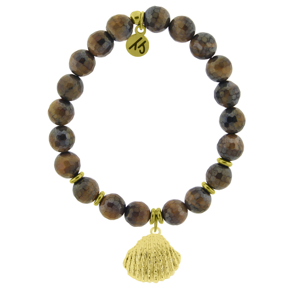 Gold Collection - Tiger's Eye Stone Bracelet with Seashell Gold Charm