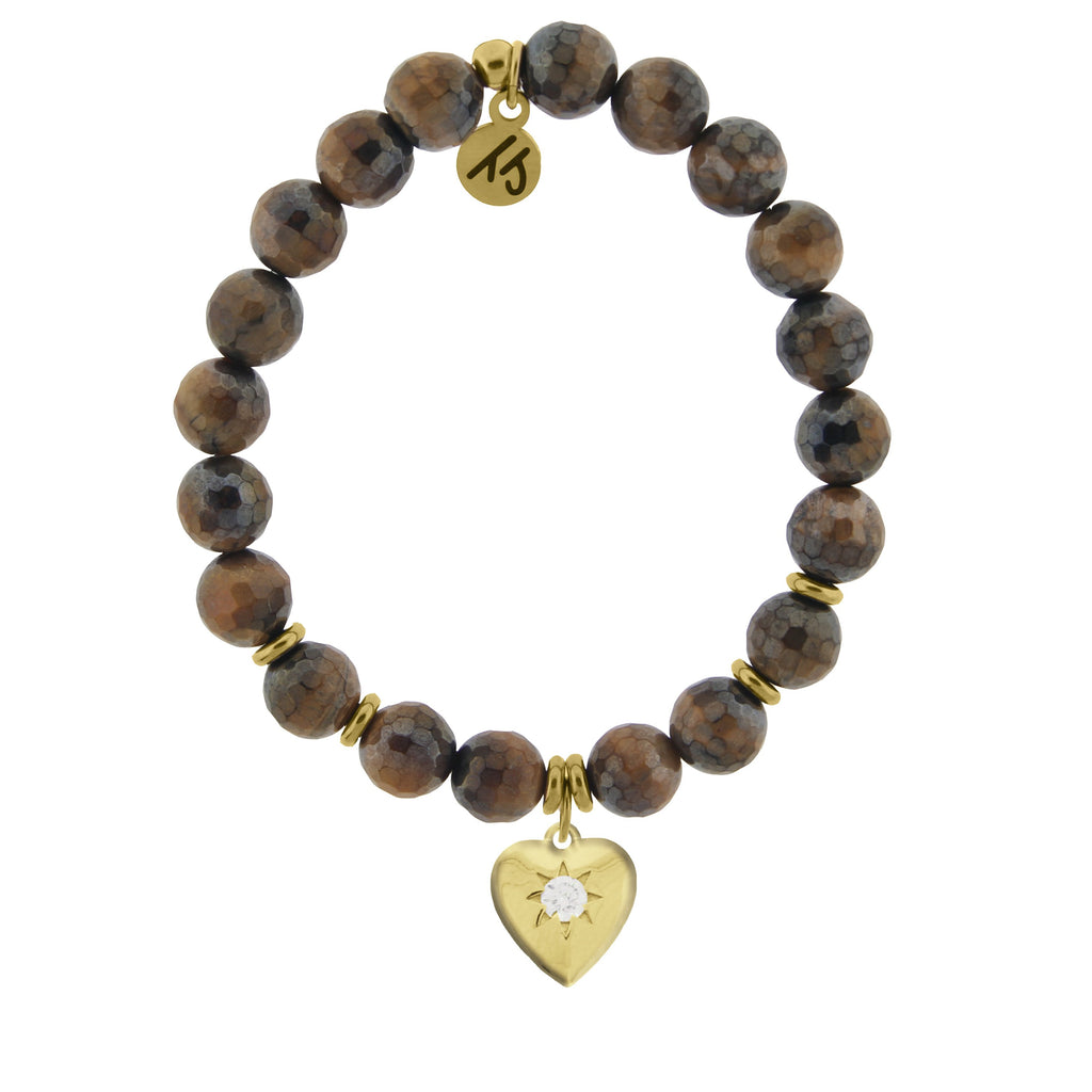 Gold Collection - Tiger's Eye Stone Bracelet with Self Love Gold Charm