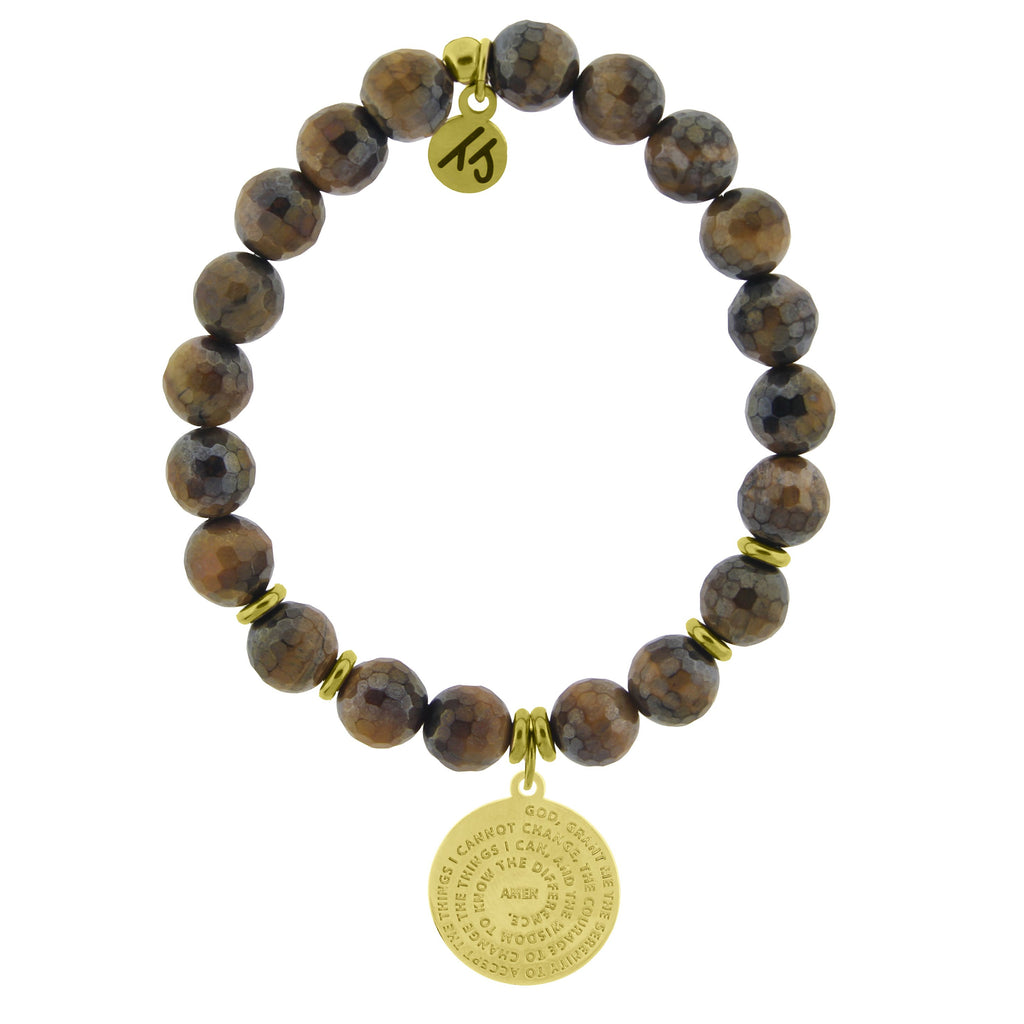 Gold Collection - Tiger's Eye Stone Bracelet with Serenity Prayer Gold Charm