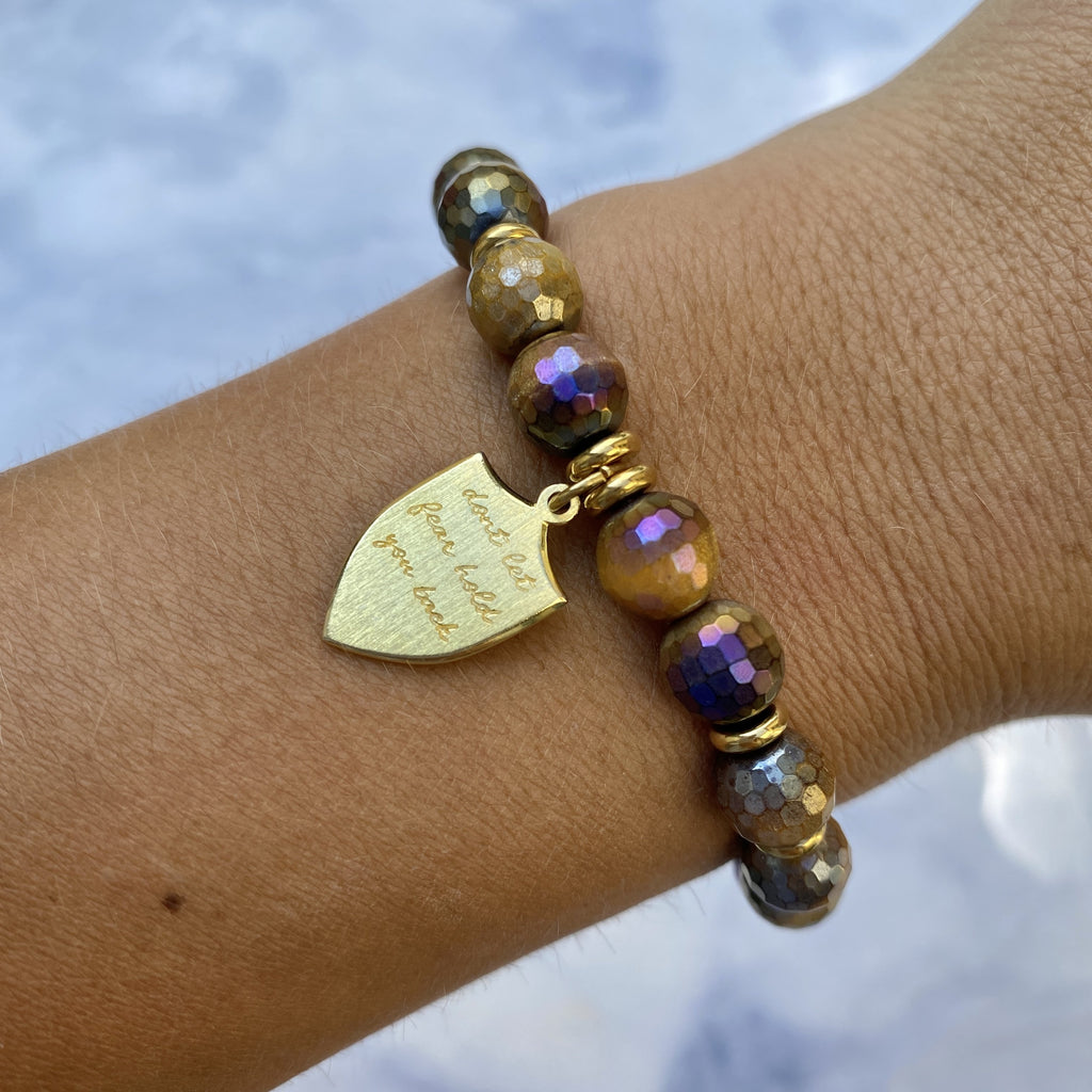 Gold Collection - Tiger's Eye Stone Bracelet with Shield of Strength Gold Charm