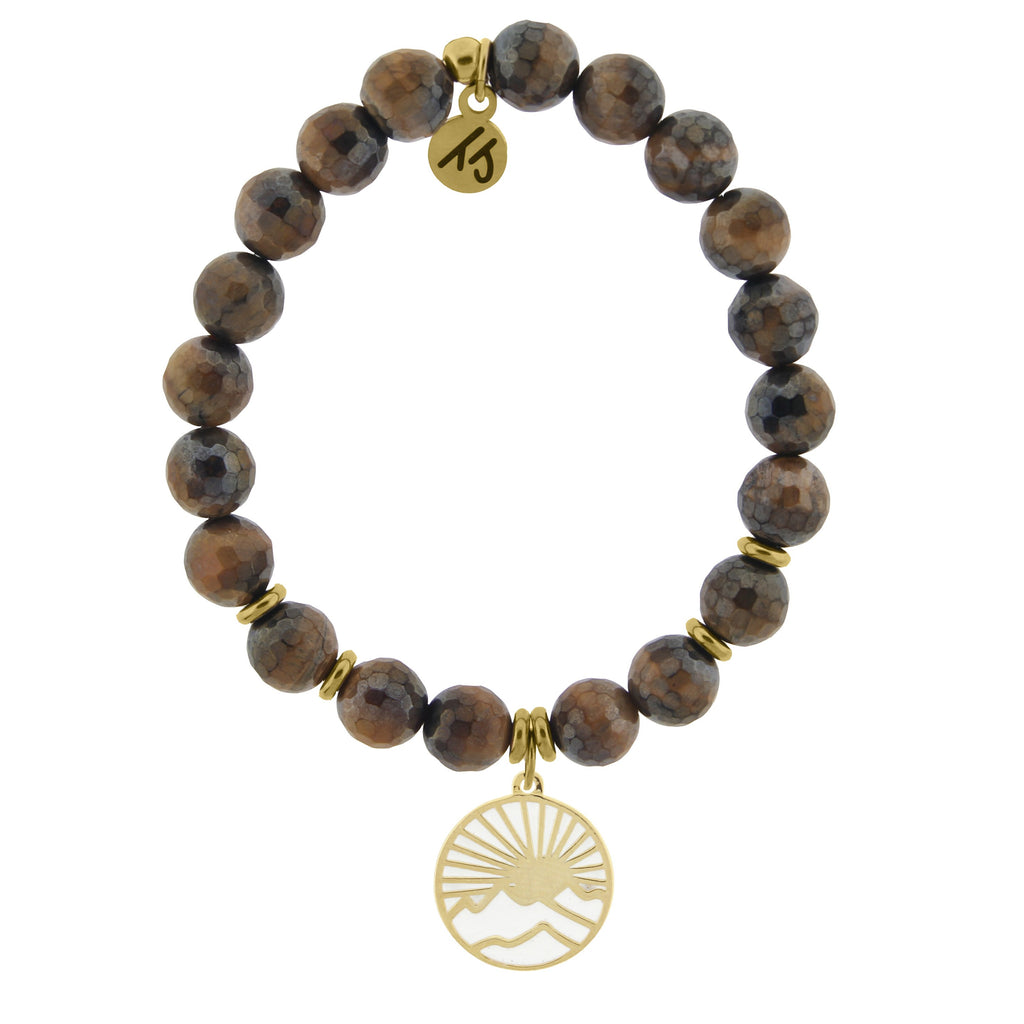 Gold Collection - Tiger's Eye Stone Bracelet with Sunrise Gold Charm