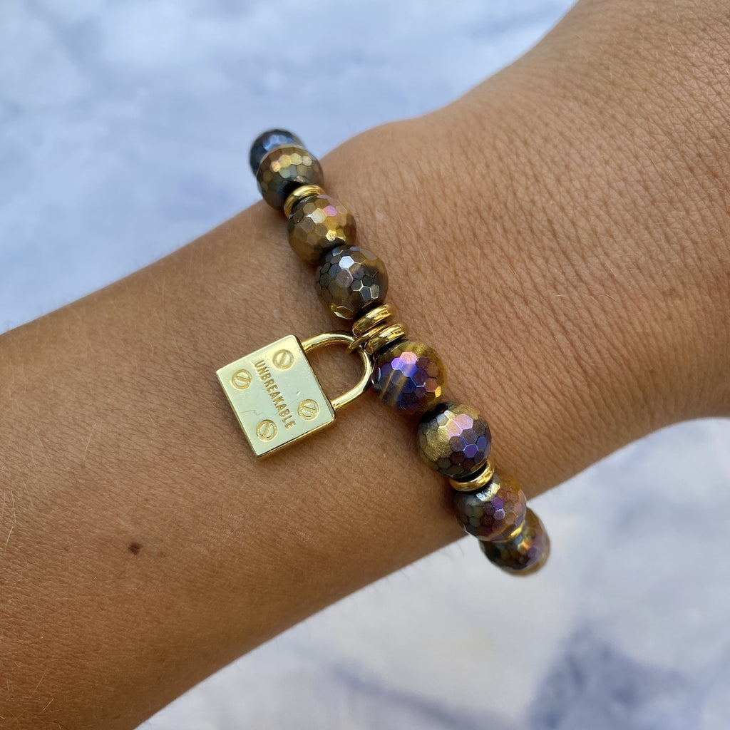 Gold Collection - Tiger's Eye Stone Bracelet with Unbreakable Gold Charm