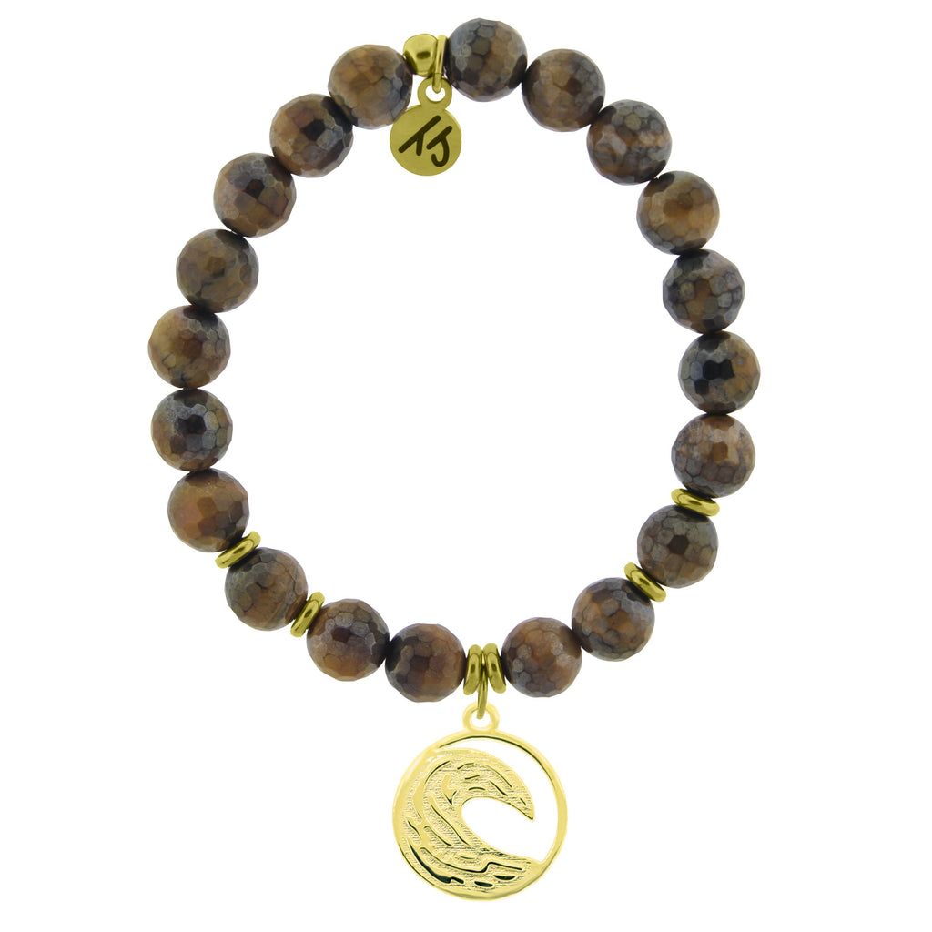 Gold Collection - Tiger's Eye Stone Bracelet with Wave Gold Charm