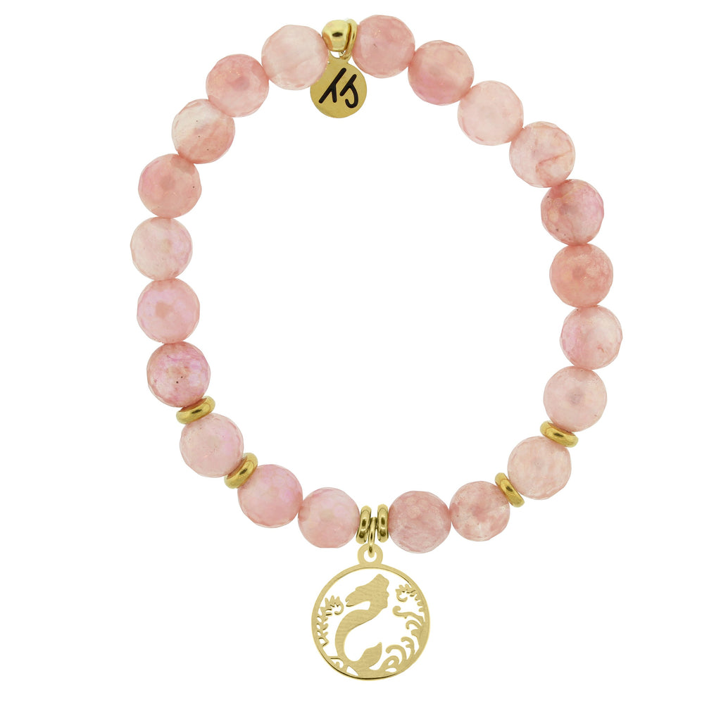 Gold Collection - Watermelon Quartz Stone Bracelet with Mermaid Gold Charm