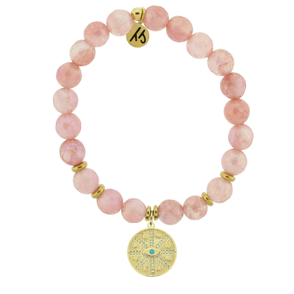 Gold Collection - Watermelon Quartz Stone Bracelet with Protection Gold Charm