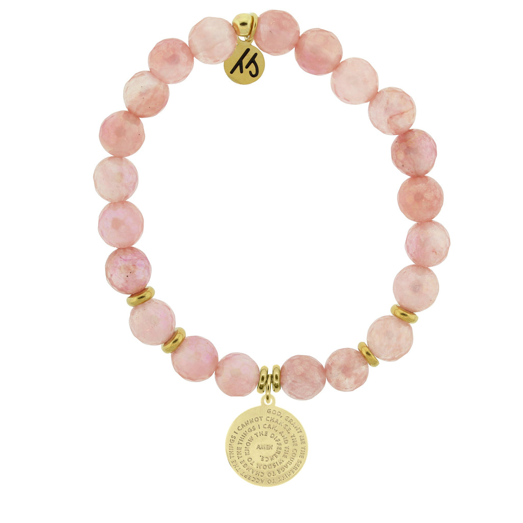Gold Collection - Watermelon Quartz Stone Bracelet with Serenity Prayer Gold Charm