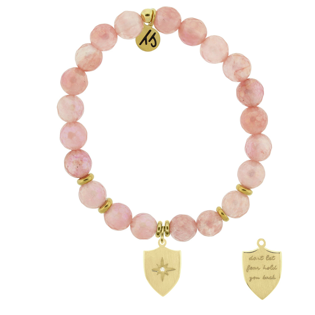 Gold Collection - Watermelon Quartz Stone Bracelet with Shield of Strength Gold Charm