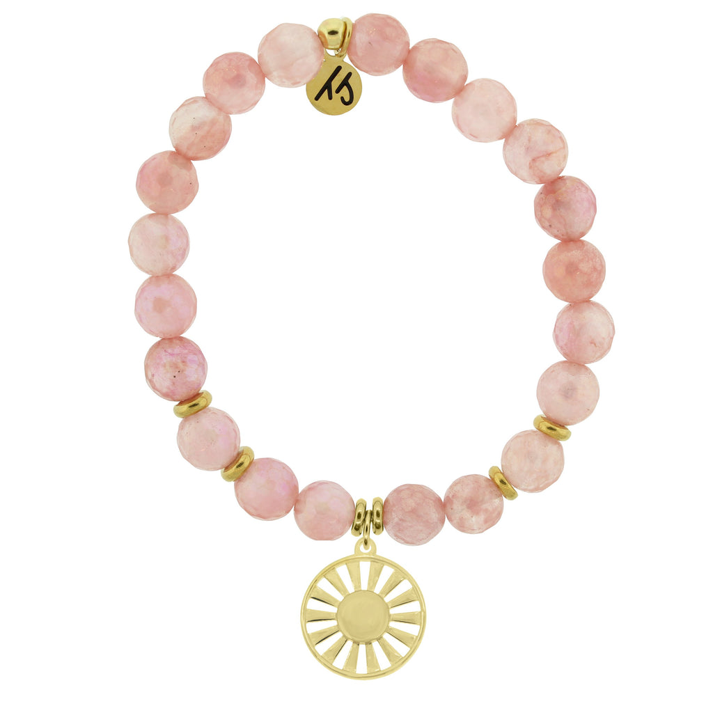 Gold Collection - Watermelon Quartz Stone Bracelet with Sun Gold Charm