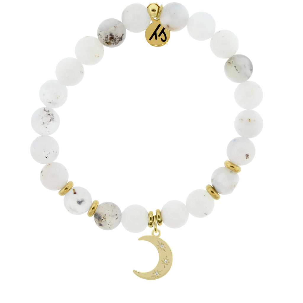Gold Collection - White Chalcedony Stone Bracelet with Friendship Stars Gold Charm