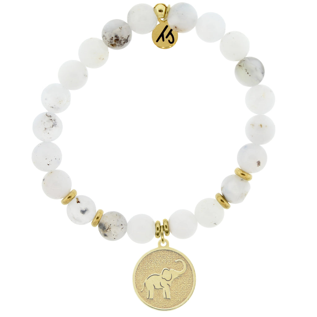 Gold Collection - White Chalcedony Stone Bracelet with Lucky Elephant Gold Charm