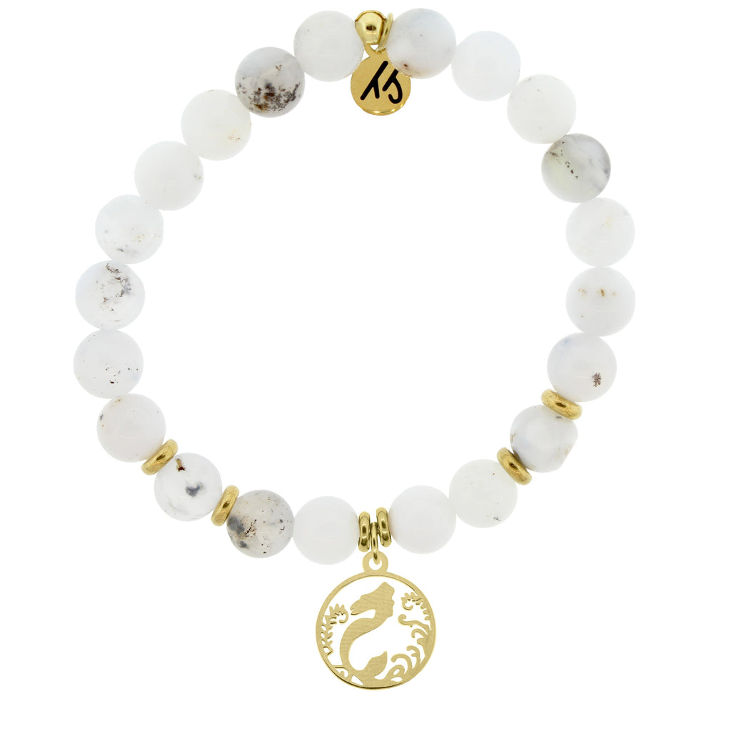 Gold Collection - White Chalcedony Stone Bracelet with Mermaid Gold Charm