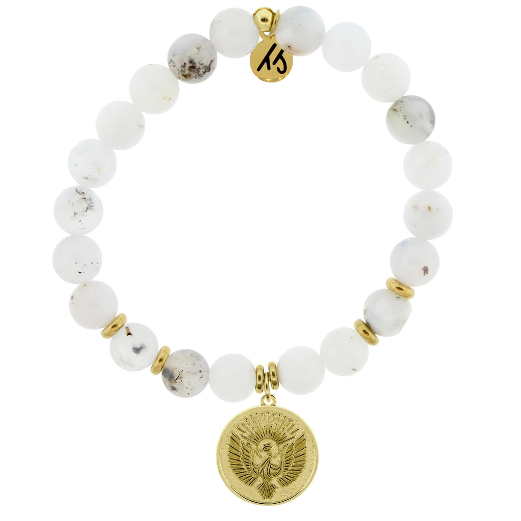 Gold Collection - White Chalcedony Stone Bracelet with Phoenix Gold Charm