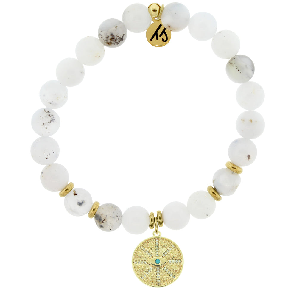 Gold Collection - White Chalcedony Stone Bracelet with Protection Gold Charm