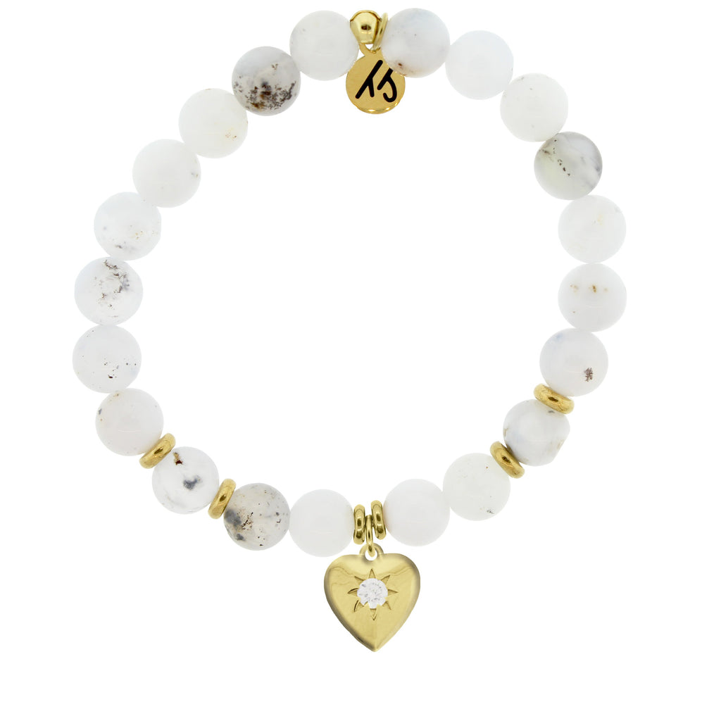 Gold Collection - White Chalcedony Stone Bracelet with Self Love Gold Charm