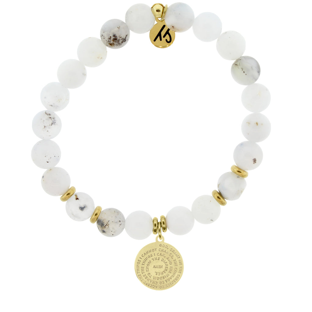 Gold Collection - White Chalcedony Stone Bracelet with Serenity Prayer Gold Charm