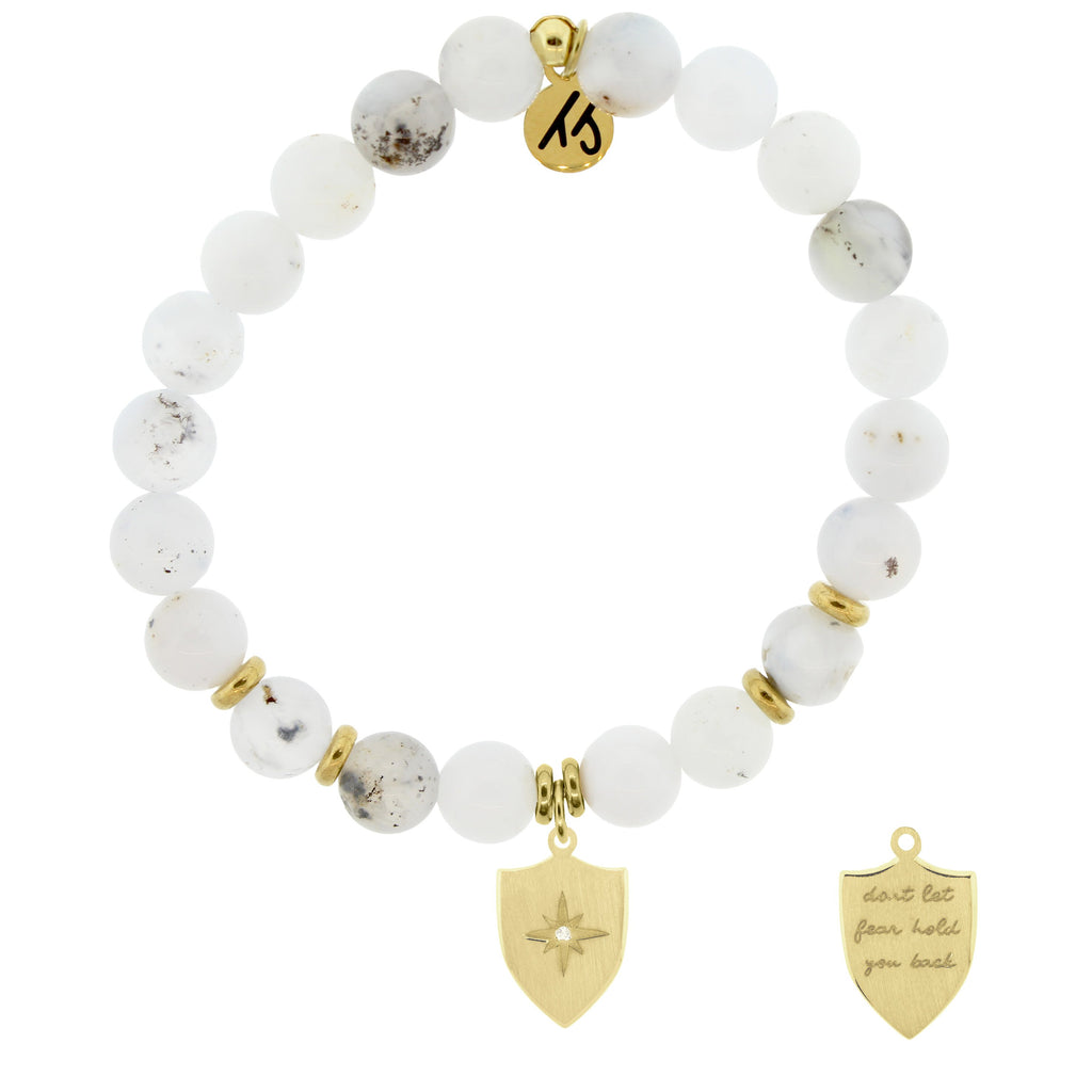 Gold Collection - White Chalcedony Stone Bracelet with Shield of Strength Gold Charm
