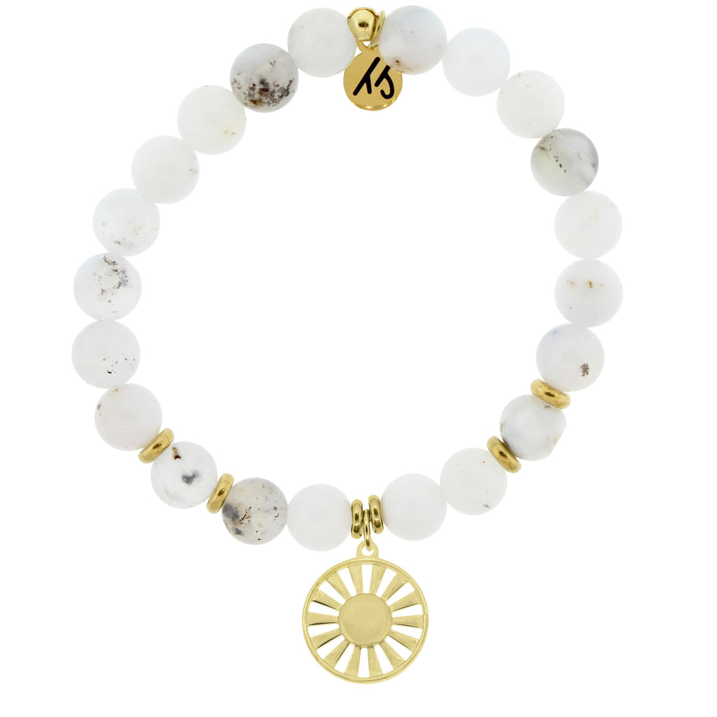 Gold Collection - White Chalcedony Stone Bracelet with Sun Gold Charm