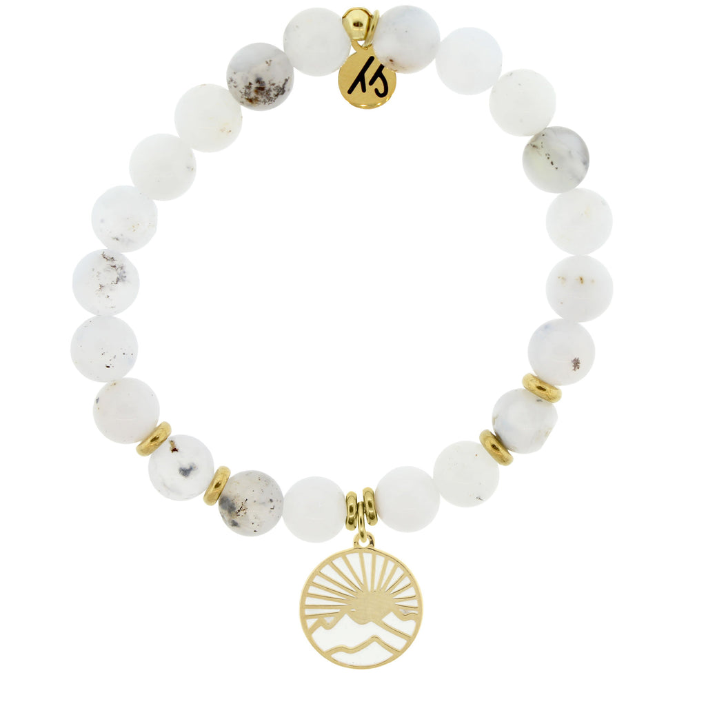 Gold Collection - White Chalcedony Stone Bracelet with Sunrise Gold Charm