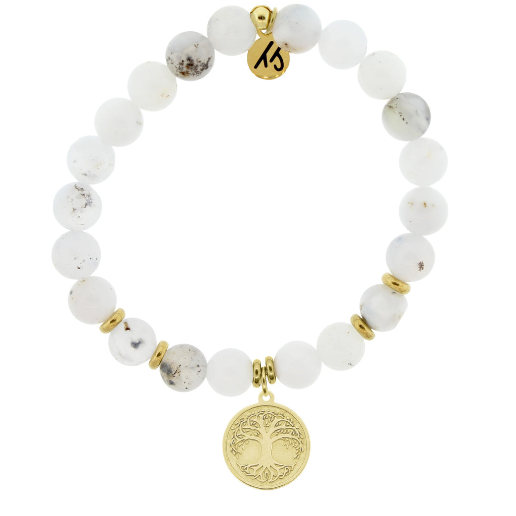 Gold Collection - White Chalcedony Stone Bracelet with Tree of Life Gold Charm