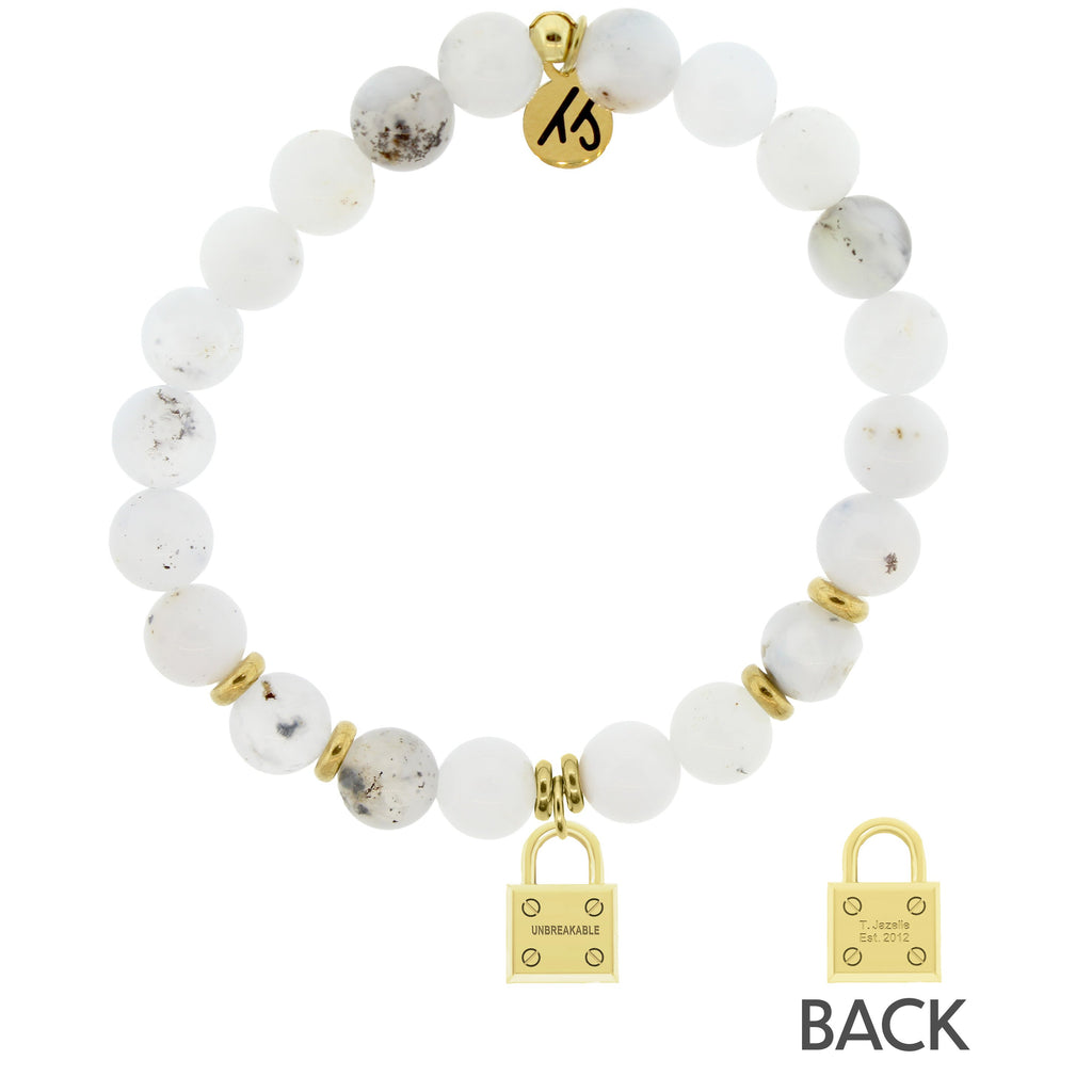 Gold Collection - White Chalcedony Stone Bracelet with Unbreakable Gold Charm