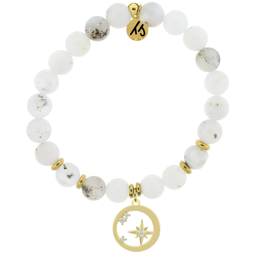 Gold Collection - White Chalcedony Stone Bracelet with What is Meant to Be Gold Charm