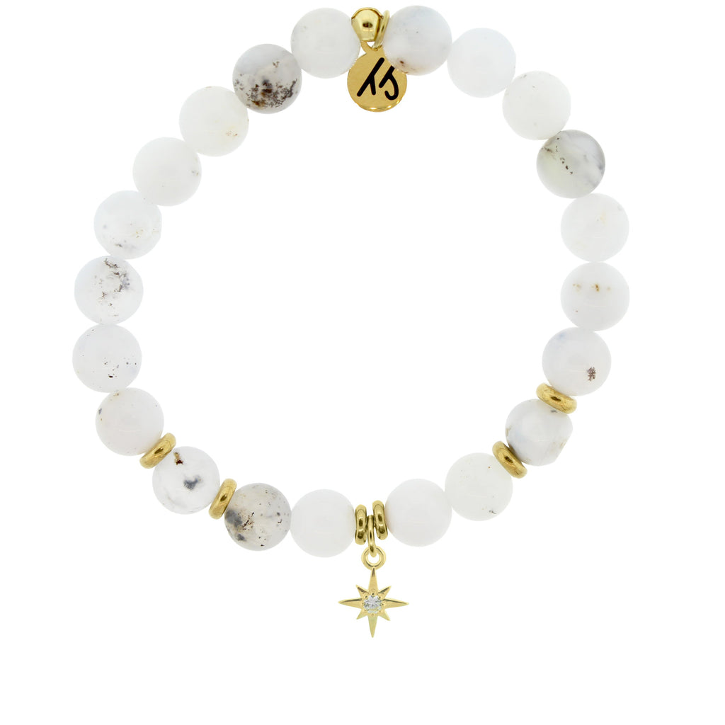 Gold Collection - White Chalcedony Stone Bracelet with Your Year Gold Charm