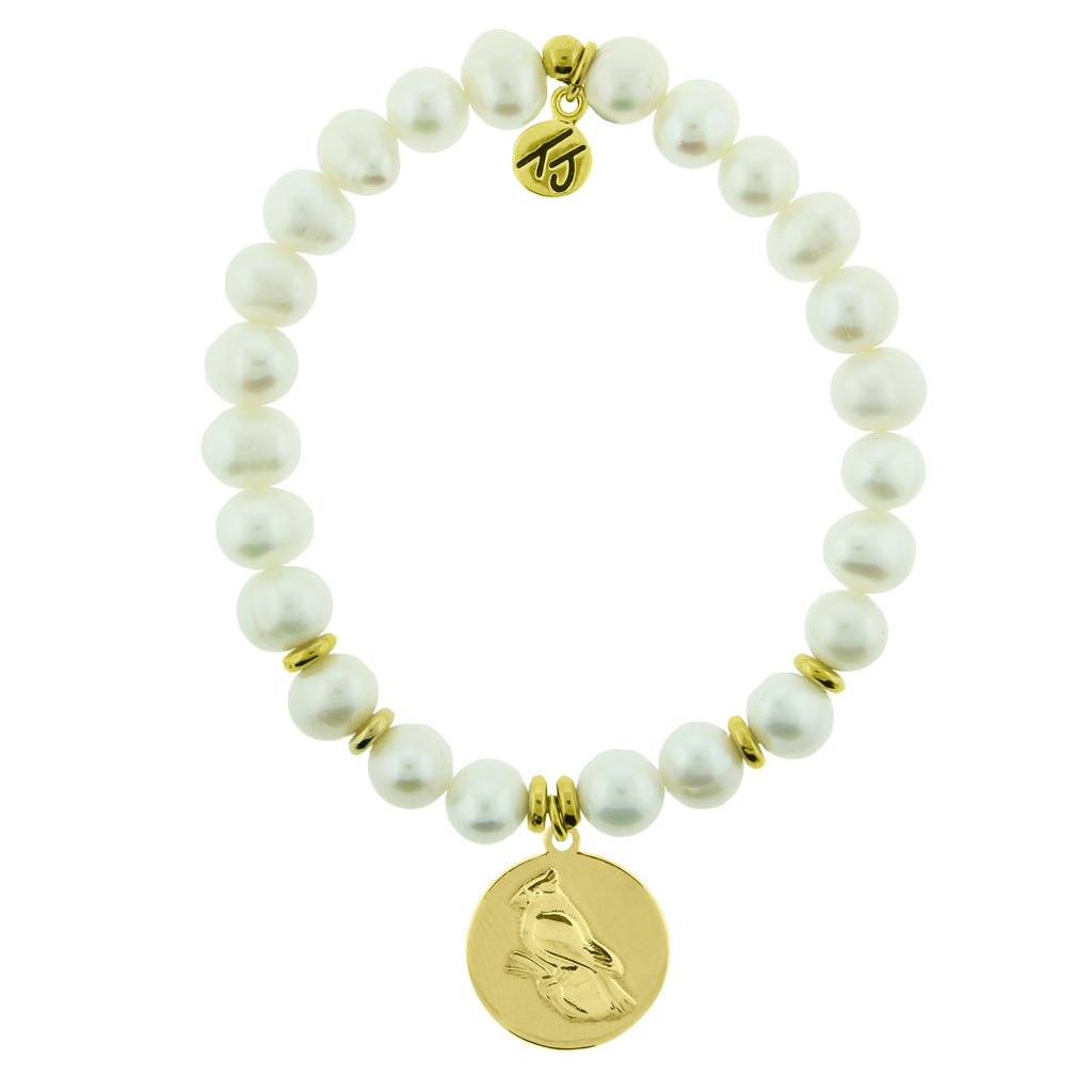 Gold Collection - White Pearl Stone Bracelet with Cardinal Gold Charm